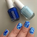 Blue Dry Brush Nails