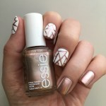 White and Rose Gold Abstract Nails