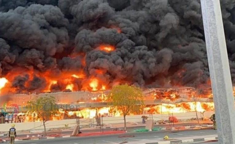 Massive fire breaks out at a food market in Ajman, UAE