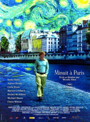 Un jeune couple d'américains, en instance de mariage, vient passer quelques jours à Paris.  Le jeune homme particulièrement attiré par le charme de la ville décide d'effectuer le soir et la nuit de longues promenades dans ses quartiers les plus pittoresques.  Il fait alors des rencontres incroyables.  Film américain de Woody Allen, sorti à Paris le 11/05/2011 avec Owen Wilson, Rachel Mcadams, Michael Sheen et Marion Cotillard.  LIRE LA CRITIQUE