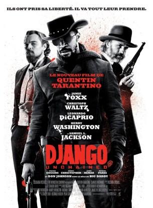 Dans le sud des États-Unis, deux ans avant la guerre de Sécession, le Dr King Schultz, un chasseur de primes allemand, fait l'acquisition de Django, un esclave qui peut l'aider à traquer les frères Brittle, les meurtriers qu'il recherche.  Schultz promet à Django de lui rendre sa liberté lorsqu'il aura capturé les Brittle - morts ou vifs.  Alors que les deux hommes pistent les dangereux criminels, Django n'oublie pas que son seul but est de retrouver Broomhilda, sa femme, dont il fut séparé à cause du commerce des esclaves...  Film américain de Quentin Tarantino, sorti en France le 16/01/2013, avec Jamie Foxx, Christoph Waltz, Leonardo Dicaprio, et Kerry Washington.  LIRE LA CRITIQUE