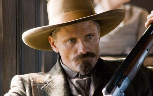 Mortenson sporting a goatee and a handlebar mustache in Appaloosa. Credit: www.cinefilos.it