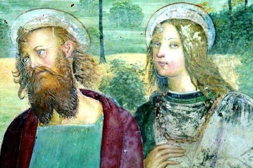 Raffaello 1500-02 autoritratto Pieve di Sant'Ippolito a Asciano