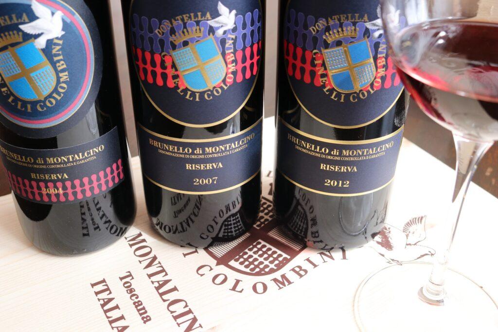 Offer-Brunello-Riserva-2004-2007-2012-and-6-wine-glasses