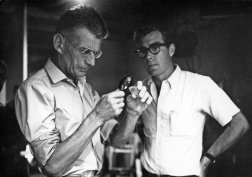 Photograph of Samuel Becket and Grove Press' Richard Seaver on the set of FILM BY SAMUEL BECKETT (1965).