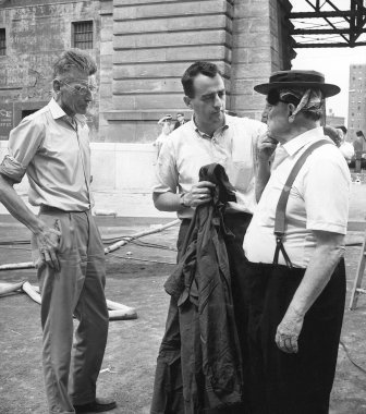 By the Brooklyn Bridge, shooting a scene from FILM BY SAMUEL BECKETT taken in the summer of 1964. Beckett is seen on the left and Keaton on the right in his only trip to America, specifically to shoot the film. NOTFILM, a kino-essay by Ross Lipman tells the story of the making of the film. Produced by Dennis Doros and Amy Heller for Milestone Film & Video. Courtesy of the BFI and Milestone Films.