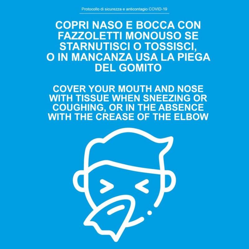 copri naso e bocca con fazzoletto monouso se starnutisci o in mancanza usa la piega del gomito