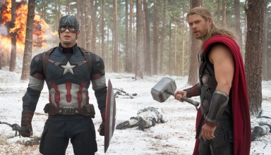 "Chris Evans and Chris Hemsworth star in Marvel's ""The Avengers: Age of Ultron"""