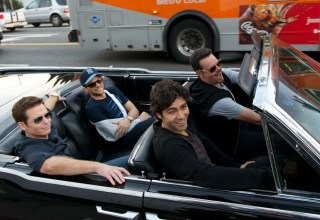 "(L-r) Kevin Connolly, Jerry Ferrera, Adrien Grenier and Kevin Dillon star in Warner Bros. Pictures' ""Entourage"""