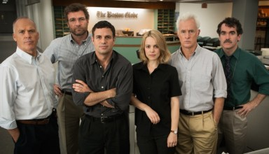 "(L-r) Michael Keaton, Liev Schrieber, Mark Ruffalo, Rachel McAdams, Brian D'Arcy James and Billy Crudup star in Open Raod Films' ""Spotlight"""