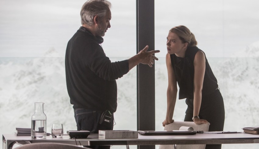 "Director Sam Mendes and Léa Seydoux in Austria on the set of Sony Pictures' ""Spectre"""