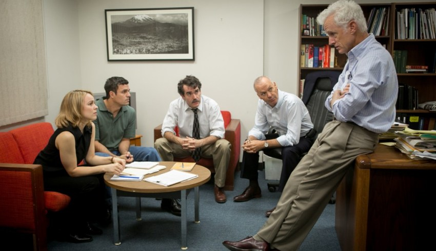 "(L-r) Rachel McAdams, Mark Ruffalo, Billy Crudup, Michael Keaton and Brian d""Arcy James star in Open Road Films' SPOTLIGHT"