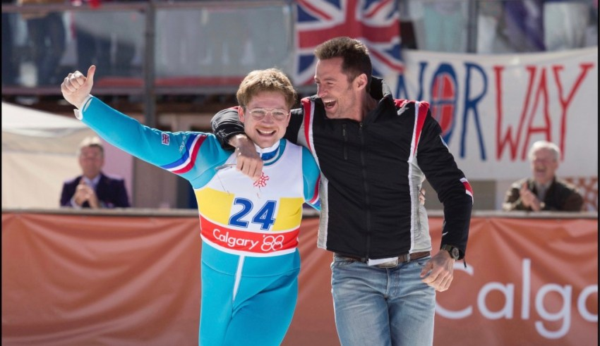 Taron Egerton and Hugh Jackman star in 20th Century Fox's EDDIE THE EAGLE