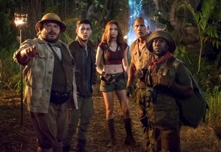 (L-R)Jack Black, Nick Jonas, Karen Gillan, Dwayne Johnson and Kevin Hart star in Columbia Pictures' JUMANJI: WELCOME TO THE JUNGLE