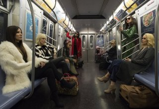 (L-R) Sandra Bullock, Cate Blanchett, Rihanna, Mindy Kaling, Awkwafina, Anne Hathaway and Sarah Paulson star in Warner Bros. Pictures' OCEAN'S 8
