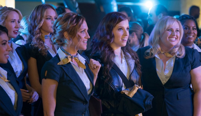 (L-r) Chrissie Fit, Anna Camp, Alexis Knapp, Brittany Snow, Anna Kendrick, Rebel Wilson and Ester Dean star in Universal Pictures' PITCH PERFECT 3