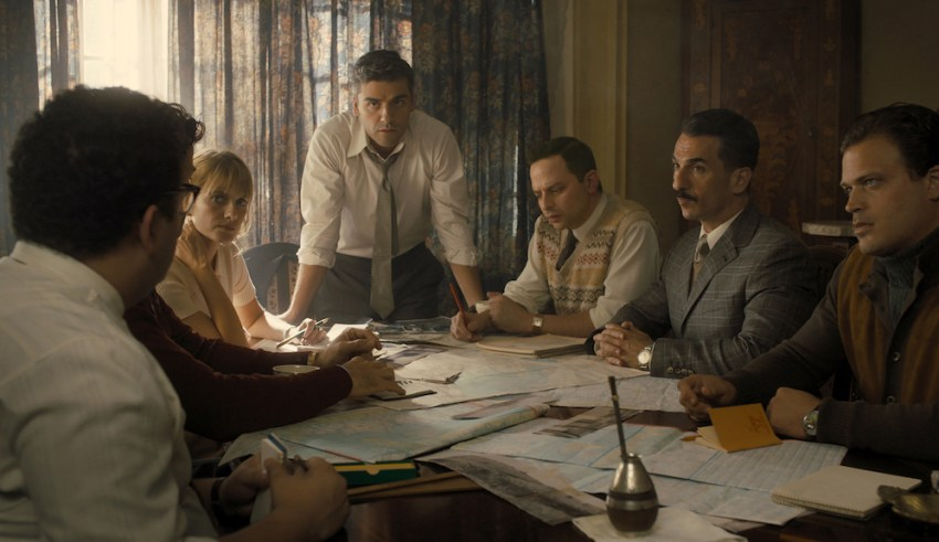 (From L to R) Mélanie Laurent, Oscar Isaac, Nick Kroll, Michael Aronov, and Greg Hill star in MGM's OPERATION FINALE