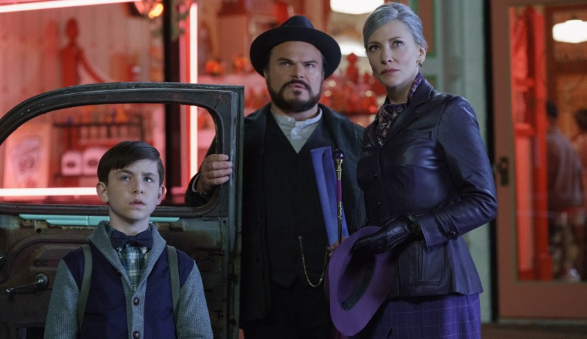 Owen Vaccaro, Jack Black, and Cate Blanchett star in Universal Pictures' THE HOUSE WITH A CLOCK IN ITS WALLS
