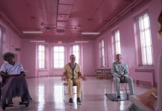 (L-R) Samuel L. Jackson, James McAvoy, Bruce Willis, and Sarah Paulson star in Universal Pictures' GLASS
