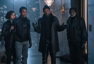 (L-R) Alexandra Shipp, Jessie Usher, Samuel L. Jackson and Richard Roundtree star in Warner Bros. Pictures' SHAFT (2019)