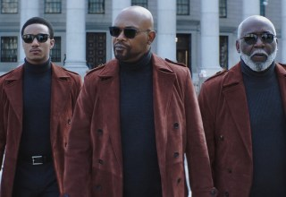 (L-r) Jessie T. Usher, Samuel L. Jackson, Richard Roundtree star in Warner Bros. Pictures' SHAFT