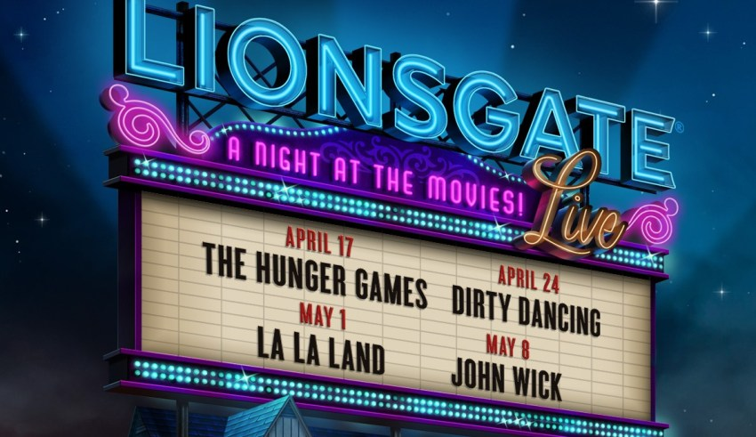 LIONSGATE FILMS A NIGHT AT THE MOVIES Logo