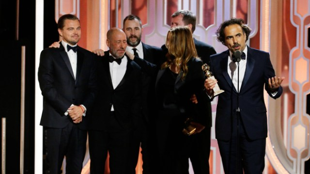 """73rd ANNUAL GOLDEN GLOBE AWARDS -- Pictured: (l-r) Alejandro G. Inarritu, """"The Revenant"""", Acceptor, Best Motion Picture, Drama at the 73rd Annual Golden Globe Awards held at the Beverly Hilton Hotel on January 10, 2016 -- (Photo by: Paul Drinkwater/NBC)"""