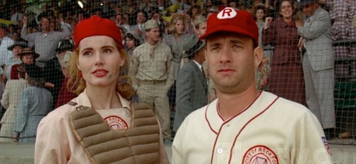 """Tom Hanks compartió créditos con Geena Davis en la cinta """"Un equipo muy especial""""."""