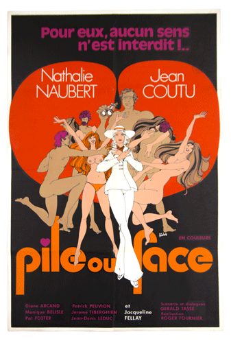 Pile ou face poster Rogier Fournier 1971 Erotic movie