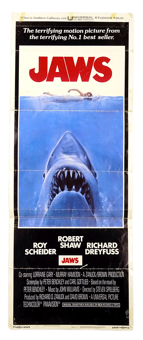Original film poster of classic movie 'Jaws'