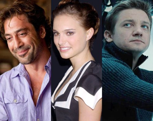 Javier Bardem. Natalie Portman, Jeremy Renner.