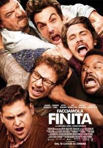 Il cast di Facciamola Finita nel poster italiano del film