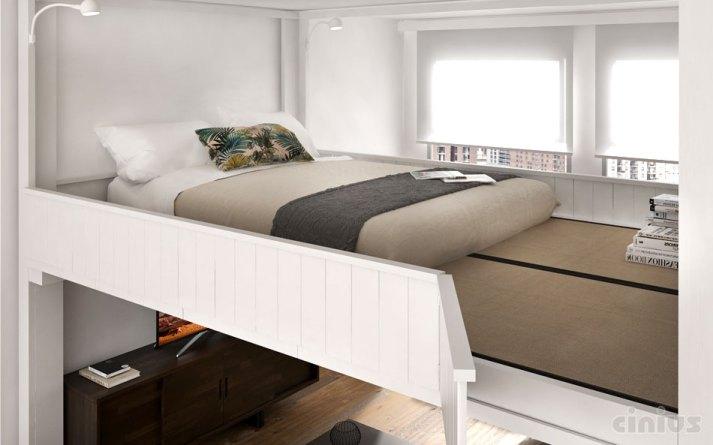camera con letto a soppalco Rising di Cinius bianco con parapetto pieno