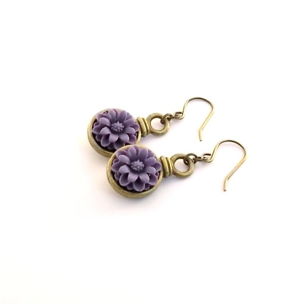 Purple Flower and Antique Brass Earrings