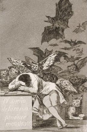 Il sonno della ragione genera mostri, celeberrimo disegno di Goya che riflette molti degli ideali del '700, ma anticipa anche qualcosa di nuovo