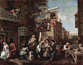 Porta a porta per i voti, quadro satirico sulle elezioni in Inghilterra nel '700