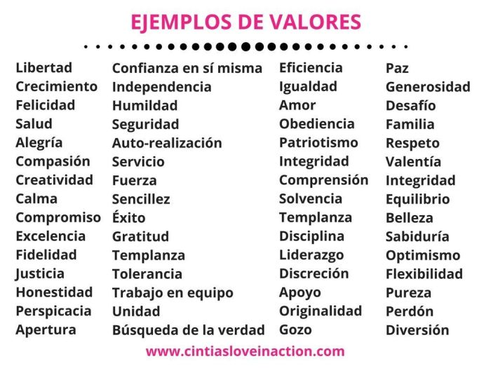 Ejemplos de valores - Cintia's Love in Action