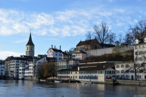 Zurigo, veduta Schipfe e campanile Chiesa St. Peter