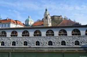 Lubiana, vista fiume, Cattedrale e Castello