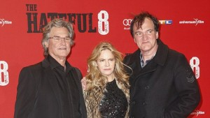 The hateful eight, il regista Tarantino con Kurt Russel e Jennifer Jason Leigh