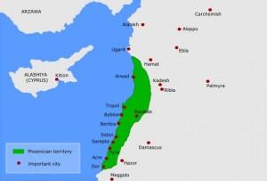 Mappa antichi insediamenti dei Fenici