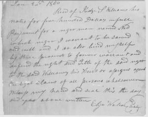 Atto di acquisto di uno schiavo nero, datato 1840