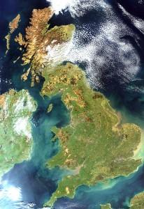 Gran Bretagna vista da un satellite artificiale