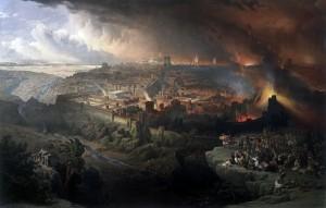 Assedio e distruzione di Gerusalemme in un dipinto di David Roberts