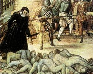 Il massacro di San Bartolomeo (dettaglio) dipinto di Dubois, 1576 circa