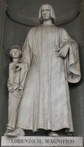Statua di Lorenzo il Magnifico di Gaetano Grazzini, Loggiato degli Uffizi, Firenze