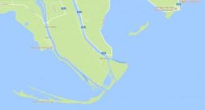 Delta del Po, rami meridionali, mappa (fonte Google Maps)