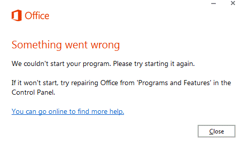 """Something went wrong"" MS Office"