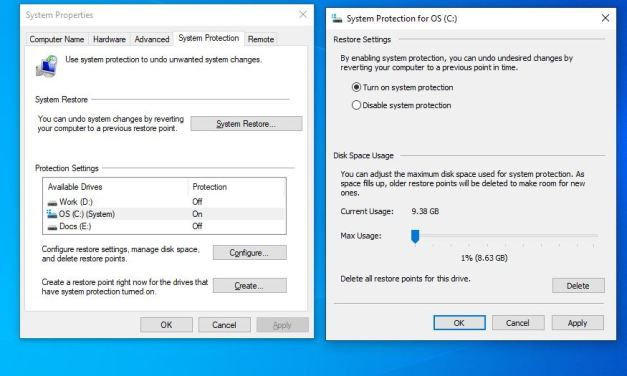 How to create System Restore in Windows 10