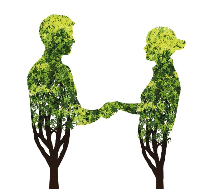 Due umani si stringono la mano senza provare attrazione.